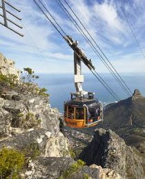 Cable cart going up mountain