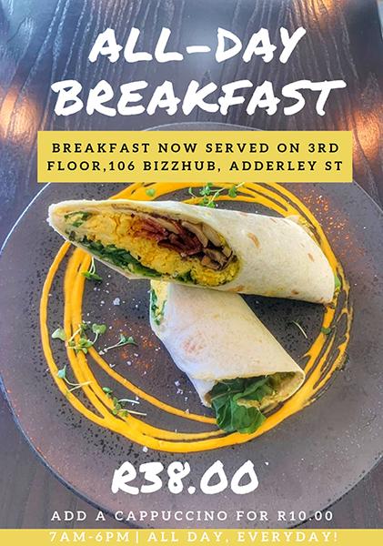 Breakfast menu with pricing