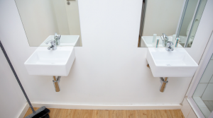 Bathroom with 2 sinks and 2 mirrors above