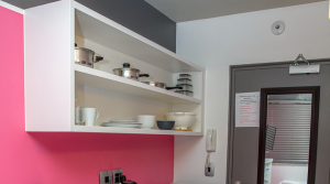 Open style wall mounted kitchen cupboards