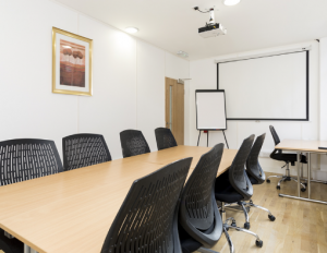 Meeting room with rectangle table and 8 chairs